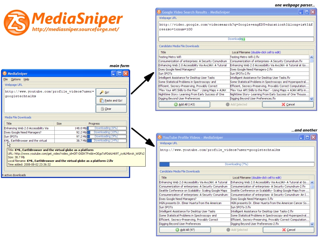 Media file downloader for popular websites